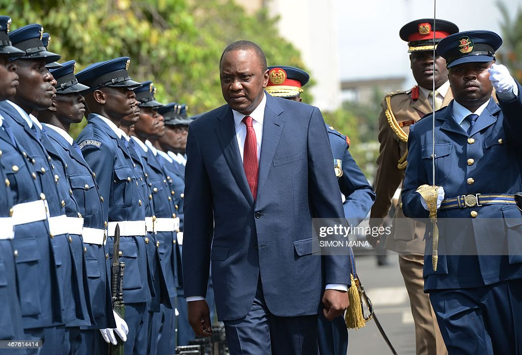 Kenya's President <a gi-track='captionPersonalityLinkClicked' href=/galleries/search?phrase=Uhuru+Kenyatta&family=editorial&specificpeople=2149190 ng-click='$event.stopPropagation()'>Uhuru Kenyatta</a> arrives before addressing the parliament on March 26, 2015 in Nairobi. President Kenyatta's speech comes against the backdrop of rising corruption and insecurity in the country. AFP PHOTO/SIMON MAINA