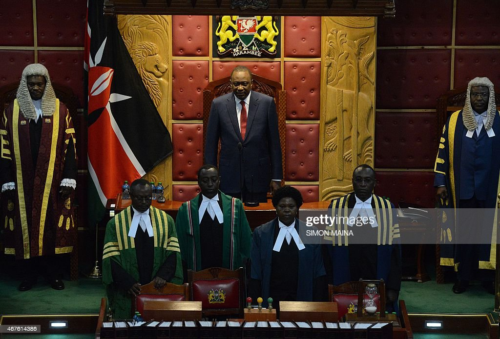 Kenya's President <a gi-track='captionPersonalityLinkClicked' href=/galleries/search?phrase=Uhuru+Kenyatta&family=editorial&specificpeople=2149190 ng-click='$event.stopPropagation()'>Uhuru Kenyatta</a> is pictured before addressing the parliament on March 26, 2015 in Nairobi. President Kenyatta's speech comes against the backdrop of rising corruption and insecurity in the country.