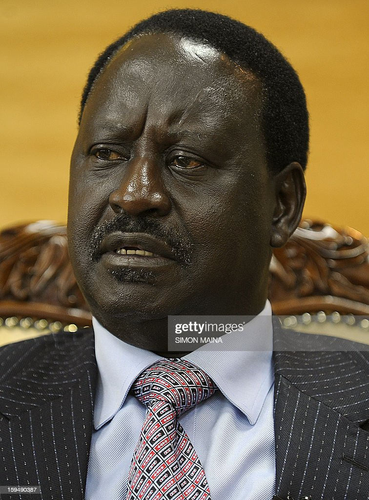 Kenya's Prime Minister and presidential candidate Raila Odinga gives an interview to AFP on January 14, 2013, in his office in Nairobi. Kenya is less than two months away from the first presidential elections since deadly post-poll violence five years ago. While two main candidates -- Uhuru Kenyatta and Raila Odinga -- dominate the race, all six candidates have potential influence, especially if voting goes to a second round run off after the March 4 vote. AFP PHOTO/SIMON MAINA