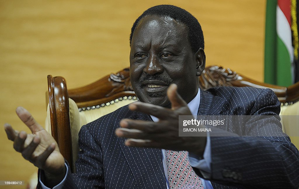 Kenya's Prime Minister and presidential candidate Raila Odinga gives an interview to AFP on January 14, 2013, in his office in Nairobi. Kenya is less than two months away from the first presidential elections since deadly post-poll violence five years ago. While two main candidates -- Uhuru Kenyatta and Raila Odinga -- dominate the race, all six candidates have potential influence, especially if voting goes to a second round run off after the March 4 vote.