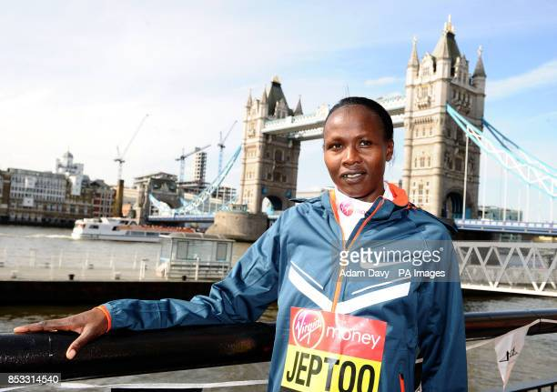 Kenya's Priscah Jeptoo during the photocall at Tower Bridge London