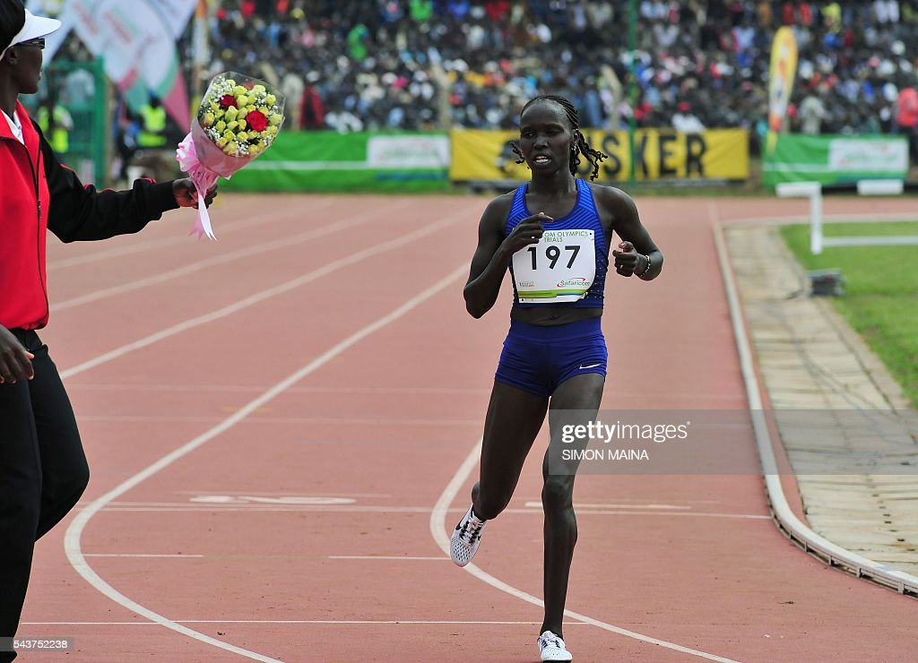 Kenya's Vivian Jepkemei Cheruiyot wins the 10,000 meters women final on June 30, 2016 in Eldoret, during the trials for Rio Olympics games. MAINA
