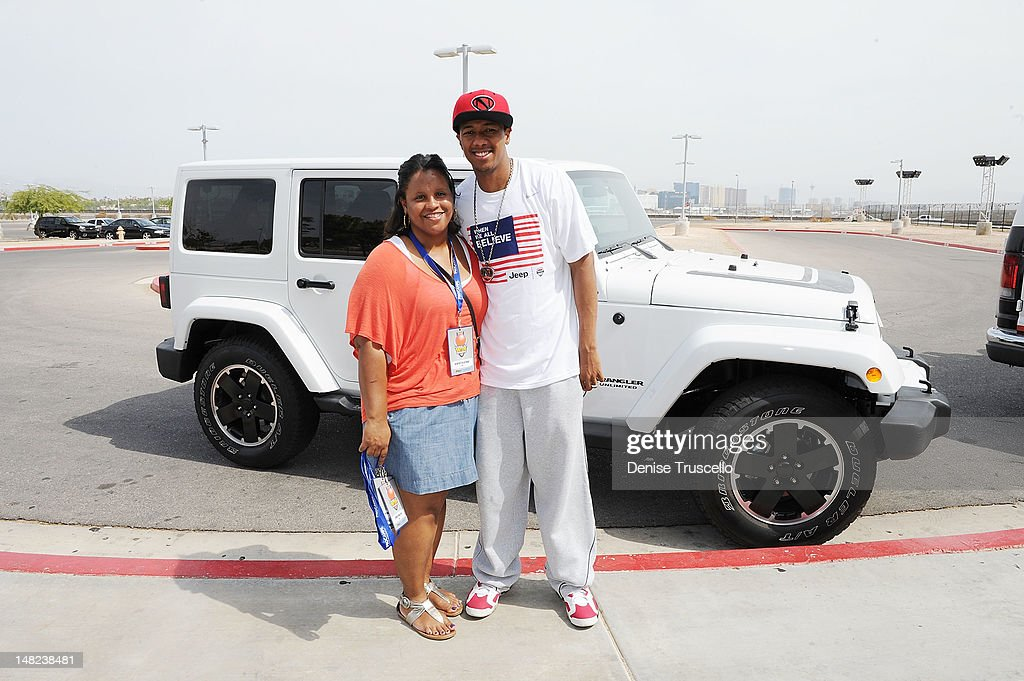 Kenyatta Bynoe and <a gi-track='captionPersonalityLinkClicked' href=/galleries/search?phrase=Nick+Cannon&family=editorial&specificpeople=202208 ng-click='$event.stopPropagation()'>Nick Cannon</a> during the Jalen Rose Leadership Academy Clinic at Impact Basketball on July 12, 2012 in Las Vegas, Nevada.