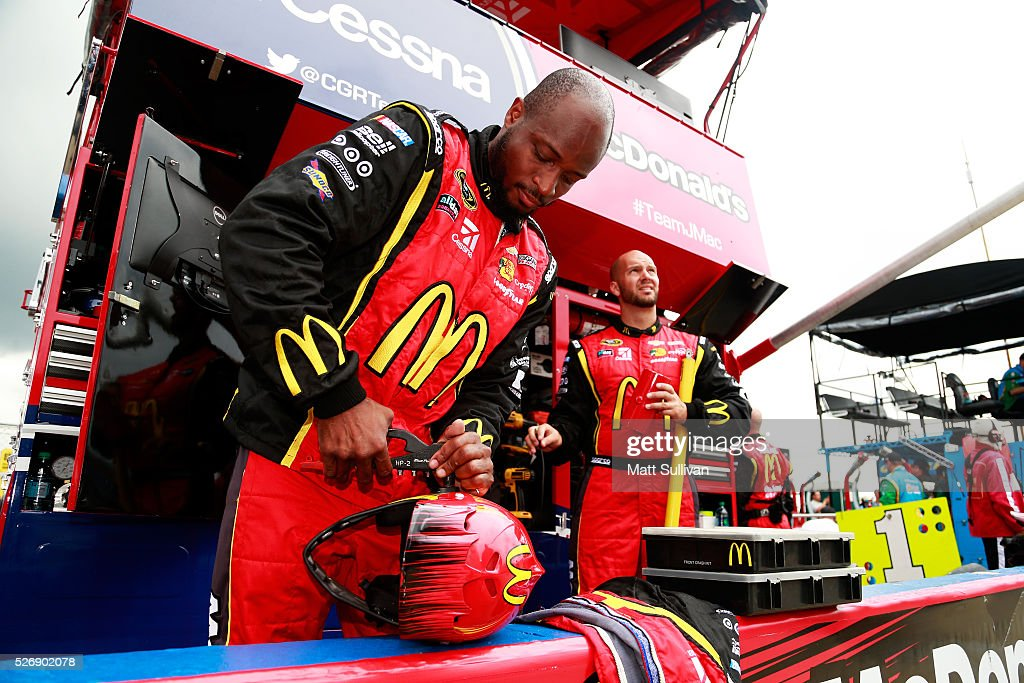 Kenyatta Houston, changer for Jamie McMurray, driver of the #1 McDonald's Chevrolet, gets prepared for the NASCAR Sprint Cup Series GEICO 500 at Talladega Superspeedway on May 1, 2016 in Talladega, Alabama.