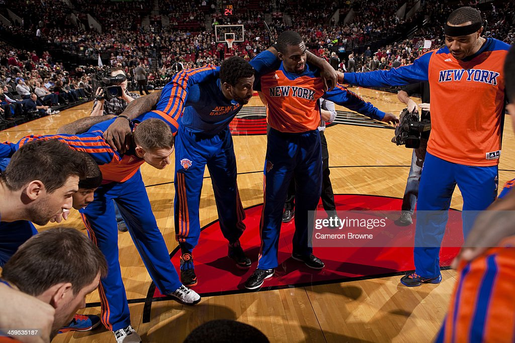 <a gi-track='captionPersonalityLinkClicked' href=/galleries/search?phrase=Kenyon+Martin&family=editorial&specificpeople=201522 ng-click='$event.stopPropagation()'>Kenyon Martin</a> #3 and the New York Knicks huddles up before the game against the Portland Trail Blazers on November 25, 2013 at the Moda Center Arena in Portland, Oregon.