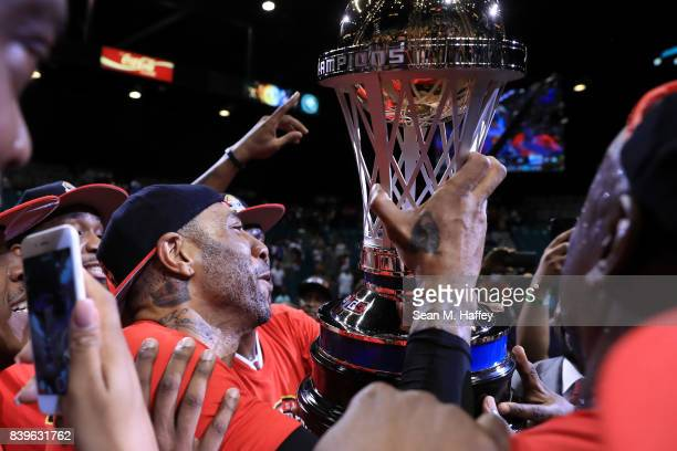 Kenyon Martin and the Trilogy celebrate after winning the BIG3 three on three basketball league championship game against 3 Headed Monsters on August...