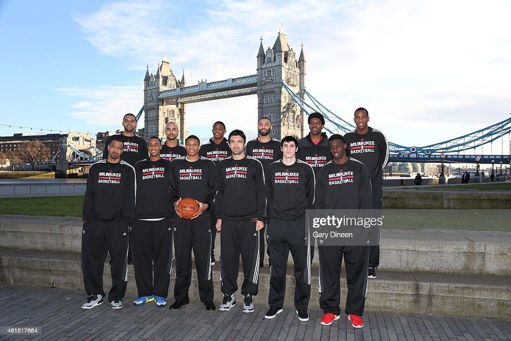 <a gi-track='captionPersonalityLinkClicked' href=/galleries/search?phrase=Kenyon+Martin&family=editorial&specificpeople=201522 ng-click='$event.stopPropagation()'>Kenyon Martin</a>, <a gi-track='captionPersonalityLinkClicked' href=/galleries/search?phrase=Jared+Dudley&family=editorial&specificpeople=224071 ng-click='$event.stopPropagation()'>Jared Dudley</a>, <a gi-track='captionPersonalityLinkClicked' href=/galleries/search?phrase=John+Henson+-+Basketball+Player&family=editorial&specificpeople=9518105 ng-click='$event.stopPropagation()'>John Henson</a>; <a gi-track='captionPersonalityLinkClicked' href=/galleries/search?phrase=Jerryd+Bayless&family=editorial&specificpeople=4216027 ng-click='$event.stopPropagation()'>Jerryd Bayless</a>, <a gi-track='captionPersonalityLinkClicked' href=/galleries/search?phrase=Giannis+Antetokounmpo&family=editorial&specificpeople=11078379 ng-click='$event.stopPropagation()'>Giannis Antetokounmpo</a>, <a gi-track='captionPersonalityLinkClicked' href=/galleries/search?phrase=Brandon+Knight+-+Basketball+Player&family=editorial&specificpeople=12323778 ng-click='$event.stopPropagation()'>Brandon Knight</a>, <a gi-track='captionPersonalityLinkClicked' href=/galleries/search?phrase=Zaza+Pachulia&family=editorial&specificpeople=202939 ng-click='$event.stopPropagation()'>Zaza Pachulia</a>, <a gi-track='captionPersonalityLinkClicked' href=/galleries/search?phrase=Kendall+Marshall&family=editorial&specificpeople=6783056 ng-click='$event.stopPropagation()'>Kendall Marshall</a>, Ersan Illyasova, <a gi-track='captionPersonalityLinkClicked' href=/galleries/search?phrase=O.J.+Mayo&family=editorial&specificpeople=2351505 ng-click='$event.stopPropagation()'>O.J. Mayo</a>, Johnny O'Bryant and <a gi-track='captionPersonalityLinkClicked' href=/galleries/search?phrase=Khris+Middleton&family=editorial&specificpeople=6689629 ng-click='$event.stopPropagation()'>Khris Middleton</a> of the Milwaukee Bucks poses for a team photo as part of the 2015 Global Games 