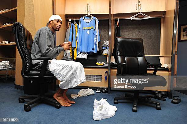 Kenyon Martin of the Denver Nuggets gets ready for practice during training camp on September 29 2009 at the Pepsi Center in Denver Colorado NOTE TO...