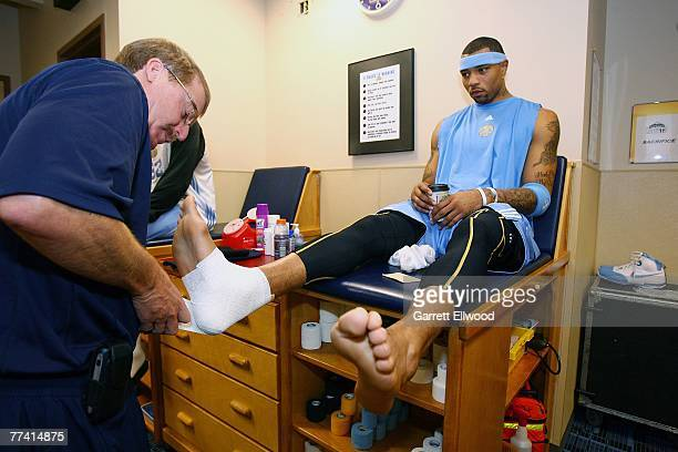 Kenyon Martin of the Denver Nuggets gets taped prior to practice on October 19 2007 at the Pepsi Center in Denver Colorado NOTE TO USER User...