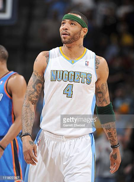 Kenyon Martin of the Denver Nuggets reacts to a call during a game against the Oklahoma City Thunder on April 5 2011 at the Pepsi Center in Denver...