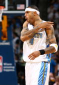 Kenyon Martin of the Denver Nuggets reacts to a play against the New Orleans Hornets during Game Five of the Western Conference Quarterfinals during...