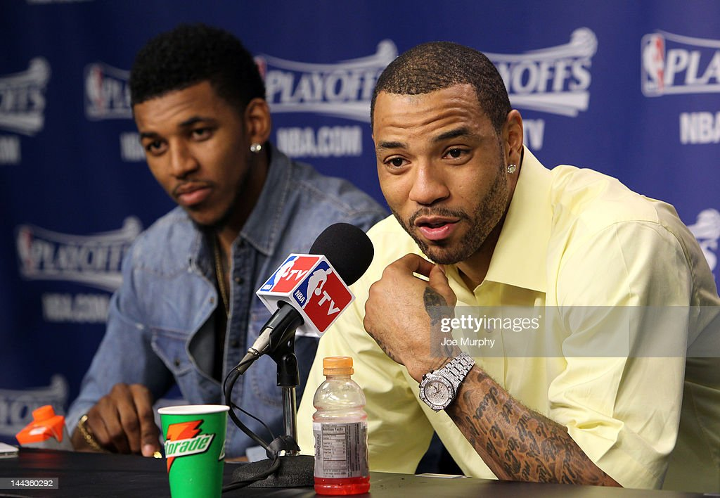 Kenyon Martin #2 of the Los Angeles Clippers speaks to the media after his team defeated the Memphis Grizzlies in Game Seven of the Western Conference Quarterfinals during the 2012 NBA Playoffs on May 13, 2012 at FedExForum in Memphis, Tennessee.
