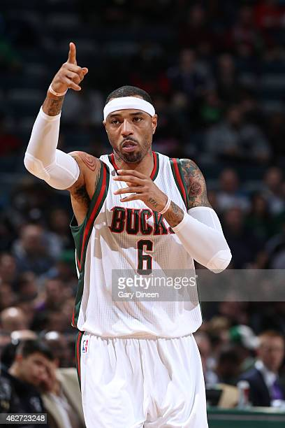 Kenyon Martin of the Milwaukee Bucks celebrates during a game against the Toronto Raptors on January 19 2015 at BMO Harris Bradley Center in...