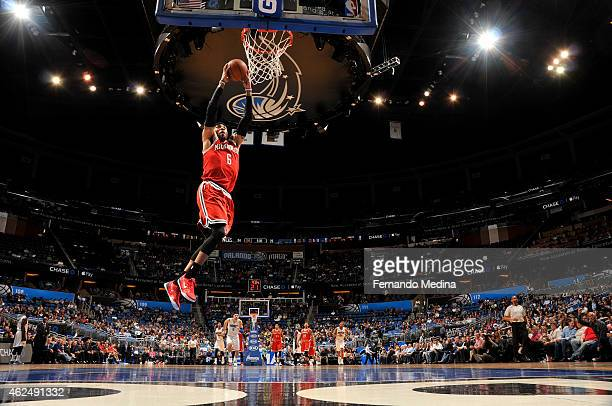 Kenyon Martin of the Milwaukee Bucks dunks against the Orlando Magic during the game on January 29 2015 at Amway Center in Orlando Florida NOTE TO...