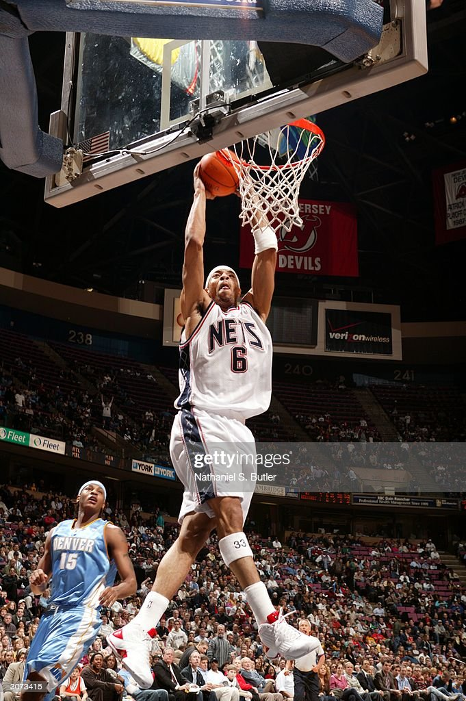 ... Kenyon Martin 6 of the New Jersey Nets dunks against Carmelo Anthony 15  of ... 97bef9962
