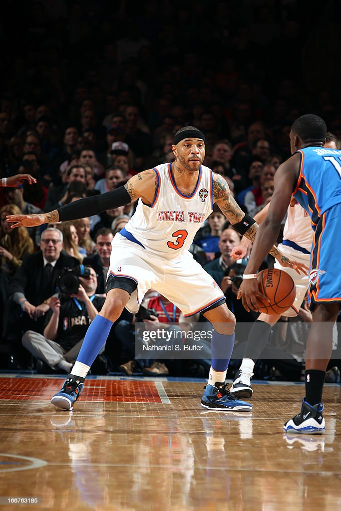 <a gi-track='captionPersonalityLinkClicked' href=/galleries/search?phrase=Kenyon+Martin&family=editorial&specificpeople=201522 ng-click='$event.stopPropagation()'>Kenyon Martin</a> #3 of the New York Knicks defends against the Oklahoma City Thunder on March 7, 2013 at Madison Square Garden in New York City.