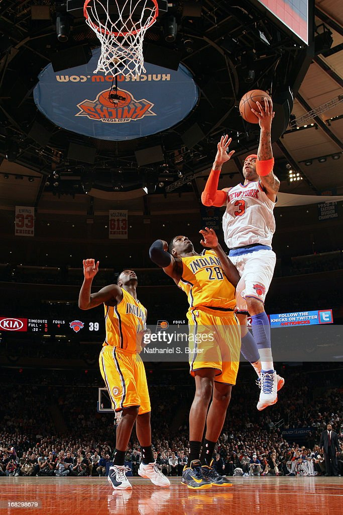 Kenyon Martin #3 of the New York Knicks drives to the basket against Ian Mahinmi #28 of the Indiana Pacers in Game Two of the Eastern Conference Semifinals during the 2013 NBA Playoffs on May 7, 2013 at Madison Square Garden in New York City.