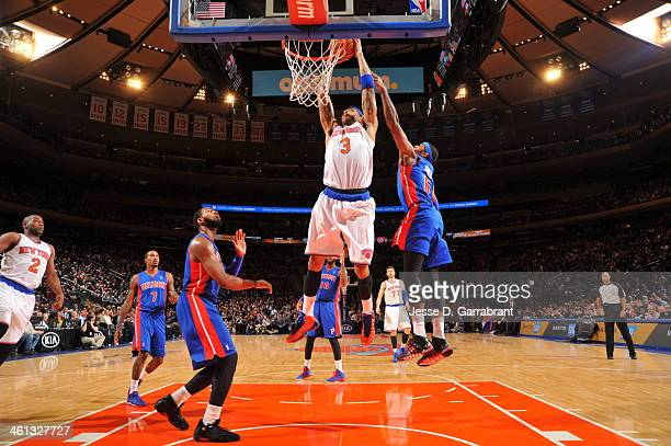 Kenyon Martin of the New York Knicks dunks against the Detroit Pistons on January 7 2014 at Madison Square Garden in New York City New York NOTE TO...