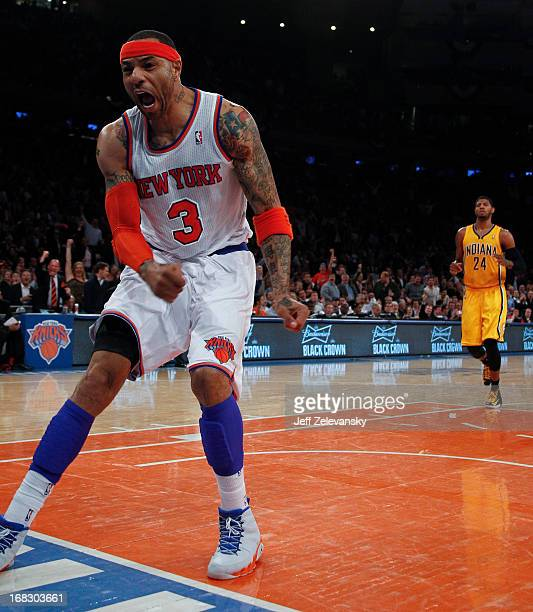 Kenyon Martin of the New York Knicks reacts against the Indiana Pacers during Game Two of the Eastern Conference Semifinals of the 2013 NBA Playoffs...