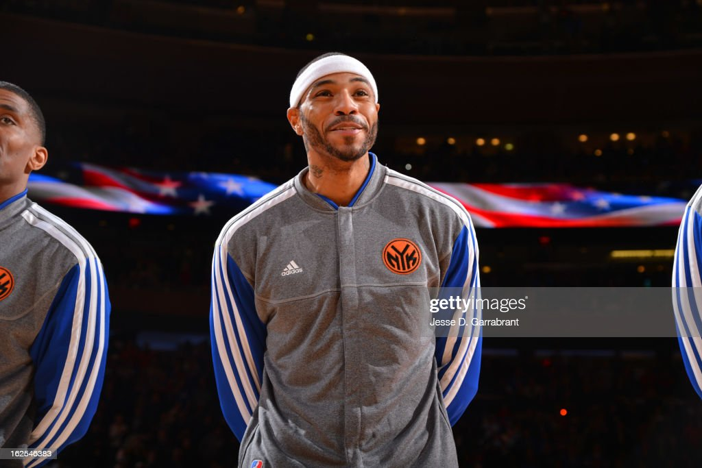 Kenyon Martin #3 of the New York Knicks stands for the National Anthem before the game against the Philadelphia 76ers on February 24, 2013 at Madison Square Garden in New York City, New York.