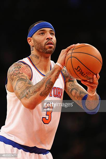 Kenyon Martin of the New York Knicks takes a fouls shot against the Detroit Pistons during their game at Madison Square Garden on January 7 2014 in...