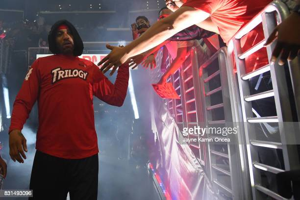 Kenyon Martin of the Trilogy is introduced during week eight of the BIG3 three on three basketball league at Staples Center on August 13 2017 in Los...