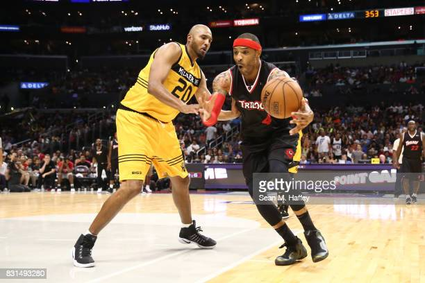 Kenyon Martin of the Trilogy loses control of the ball against Brian Cook of the Killer 3s during week eight of the BIG3 three on three basketball...