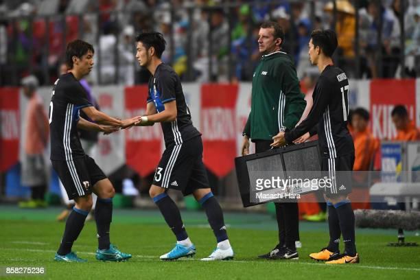 Kenyu Sugimoto and Yuki Kobayashi of Japan are brought in during the international friendly match between Japan and New Zealand at Toyota Stadium on...