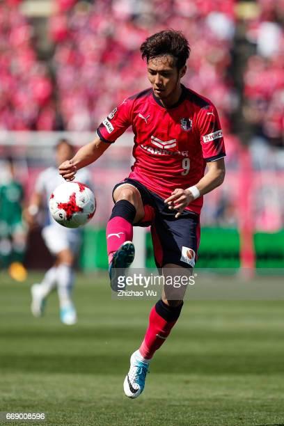 Kenyu Sugimoto kicks the ball during the JLeague J1 match between Cerezo Osaka and Gamba Osaka at Yanmar Stadium on April 16 2017 in Osaka Japan