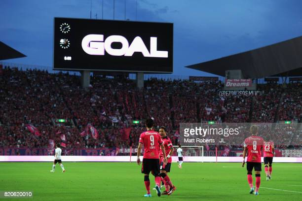 Kenyu Sugimoto of Cerezo Osaka celebrates scoring the opening goal with his team mates during the JLeague J1 match between Cerezo Osaka and Urawa Red...