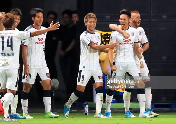 Kenyu Sugimoto of Cerezo Osaka celebrates scoring the opening goal during the JLeague J1 match between Gamba Osaka and Cerezo Osaka at Suita City...