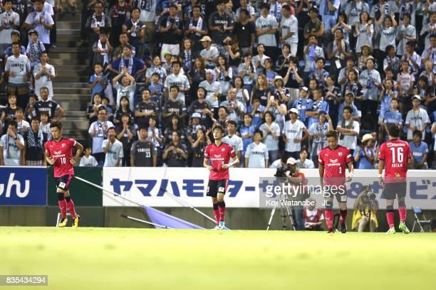 Kenyu Sugimoto of Cerezo Osaka celebrates scoring the opening goal during the JLeague J1 match between Jubilo Iwata and Cerezo Osaka at Yamaha...