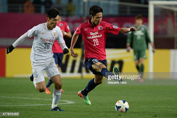 Kenyu Sugimoto of Cerezo Osaka in action during the AFC Champions League Group E match between Cerezo Osaka and Shandong Luneng FC at Nagai Stadium...