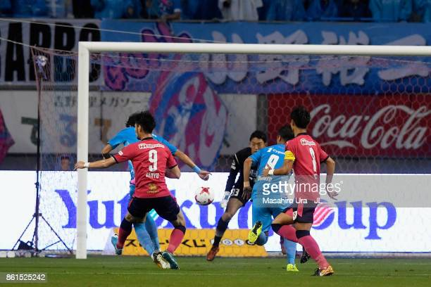 Kenyu Sugimoto of Cerezo Osaka scores his side's first goal during the JLeague J1 match between Sagan Tosu and Cerezo Osaka at Best Amenity Stadium...