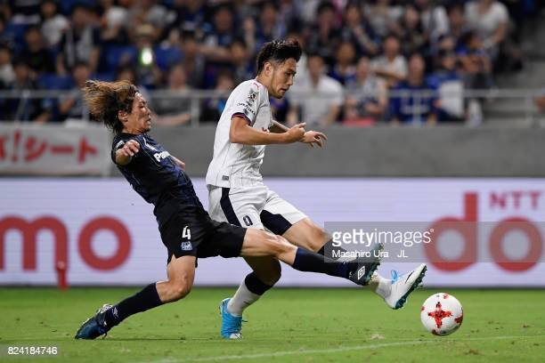Kenyu Sugimoto of Cerezo Osaka scores the opening goal during the JLeague J1 match between Gamba Osaka and Cerezo Osaka at Suita City Football...