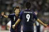 Kenyu Sugimoto of Japan celebrates his goal against New Zealand U23 with his teammate Yuki Otsu during the international friendly match between Japan...