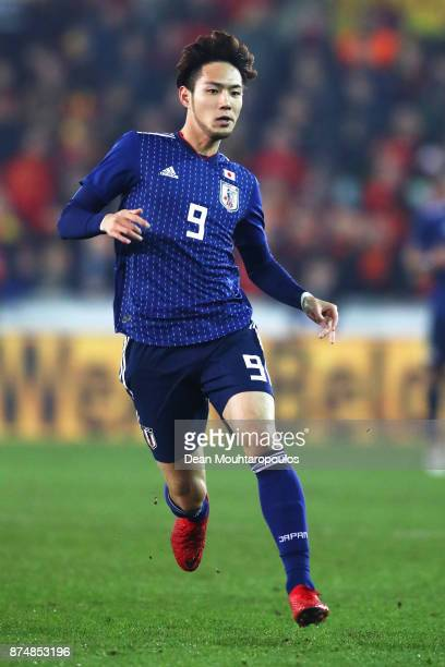 Kenyu Sugimoto of Japan in action during the international friendly match between Belgium and Japan held at Jan Breydel Stadium on November 14 2017...