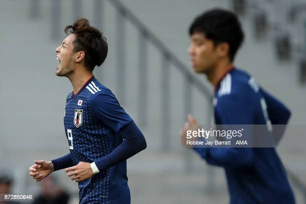 Kenyu Sugimoto of Japan reacts during the international friendly match between Brazil and Japan at Stade PierreMauroy on November 10 2017 in Lille...
