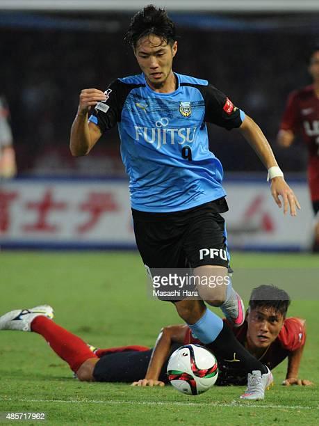 Kenyu Sugimoto of Kawasaki Frontale in action during the JLeague match between Kawasaki Frontale and Kashima Antlers at Todoroki Stadium on August 29...