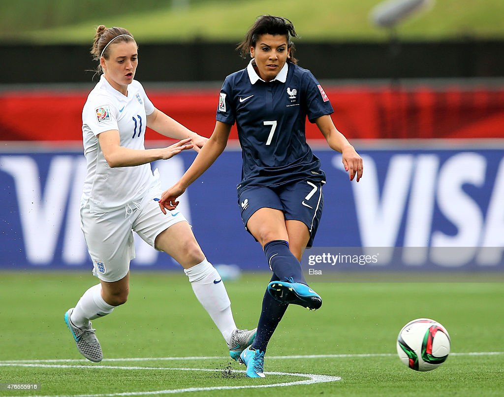 Kenza Dali #7 of France passes the ball as Jade Moore #11 of England defends during the FIFA Women's World Cup 2015 Group F match at Moncton Stadium on June 9, 2015 in Moncton, Canada.