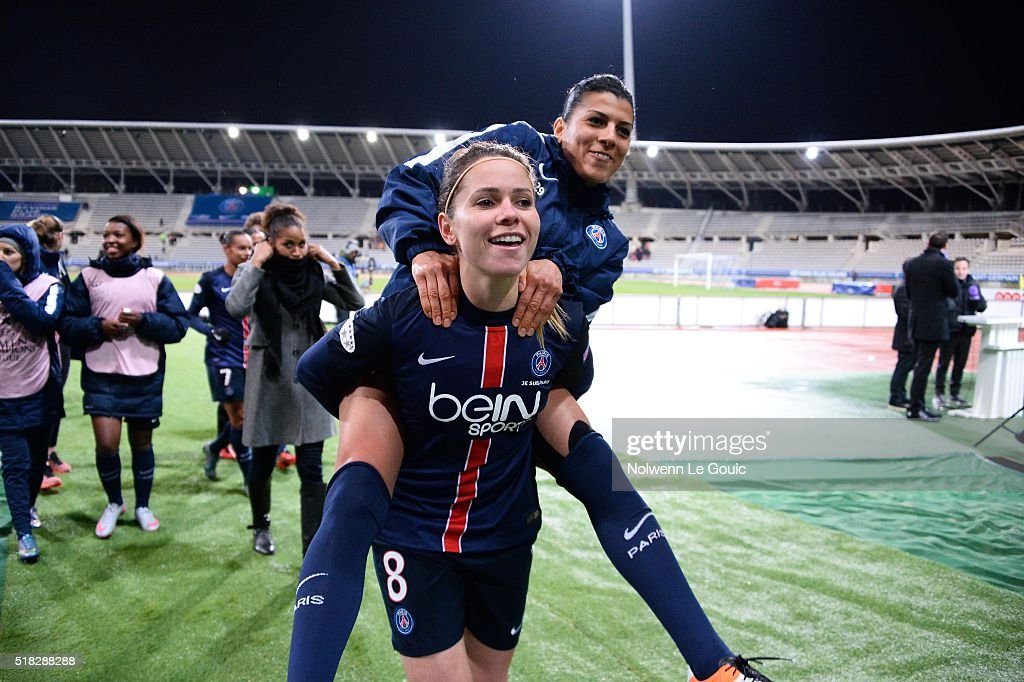 Kenza Dali of PSG and Erika of PSG celebrate during Uefa Women's Champions League match between Paris Saint Germain and Fc Barcelona round of 8...
