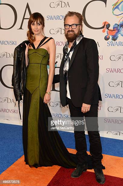 Kenza Fourati and Johan Lindeberg attend the 2014 CFDA fashion awards at Alice Tully Hall Lincoln Center on June 2 2014 in New York City