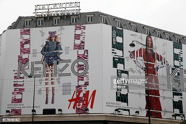 Kenzo and HM poster is displayed on the Galeries Lafayette facade on October 25 2016 in Paris France The Poster promotes the Launch of the Kenzo and...