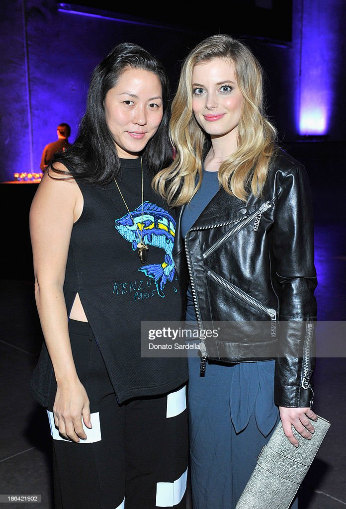 Kenzo designer <a gi-track='captionPersonalityLinkClicked' href=/galleries/search?phrase=Carol+Lim&family=editorial&specificpeople=4081625 ng-click='$event.stopPropagation()'>Carol Lim</a> (L) and actress <a gi-track='captionPersonalityLinkClicked' href=/galleries/search?phrase=Gillian+Jacobs&family=editorial&specificpeople=4836757 ng-click='$event.stopPropagation()'>Gillian Jacobs</a> attend the Kenzo Kalifornia launch dinner and party at The Berrics on October 30, 2013 in Los Angeles, California.