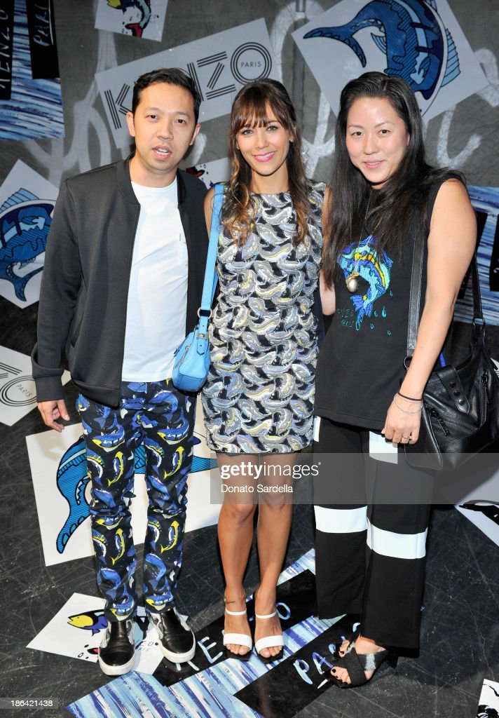 Kenzo desinger Humberto Leon, actress <a gi-track='captionPersonalityLinkClicked' href=/galleries/search?phrase=Rashida+Jones&family=editorial&specificpeople=2133481 ng-click='$event.stopPropagation()'>Rashida Jones</a> and Kenzo desinger <a gi-track='captionPersonalityLinkClicked' href=/galleries/search?phrase=Carol+Lim&family=editorial&specificpeople=4081625 ng-click='$event.stopPropagation()'>Carol Lim</a> attend the Kenzo Kalifornia launch dinner and party at The Berrics on October 30, 2013 in Los Angeles, California.