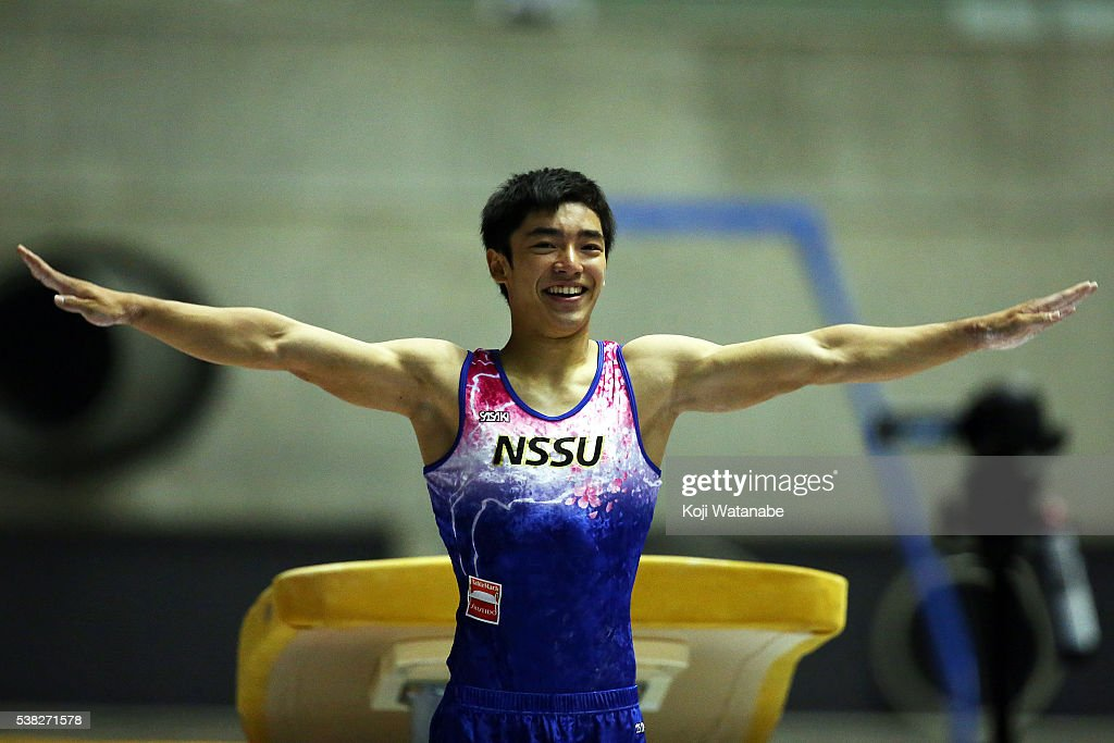 Kenzo Shirai celebrates after competes on the vaulting horse during the AllJapan Gymnastic Appratus Championshipsat Yoyogi National Gymnasium on June...