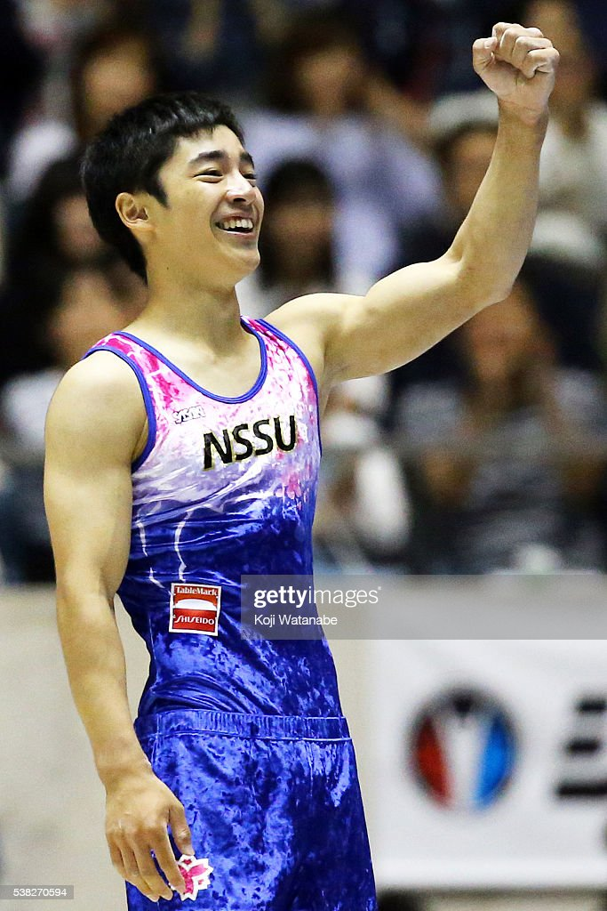 Kenzo Shirai celebrates after On the floor during the AllJapan Gymnastic Appratus Championshipsat Yoyogi National Gymnasium on June 5 2016 in Tokyo...