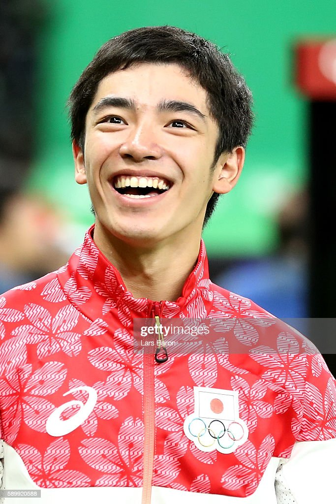 Kenzo Shirai of Japan celebrates winning the bronze medal in the Men's Vault on day 10 of the Rio 2016 Olympic Games at Rio Olympic Arena on August...