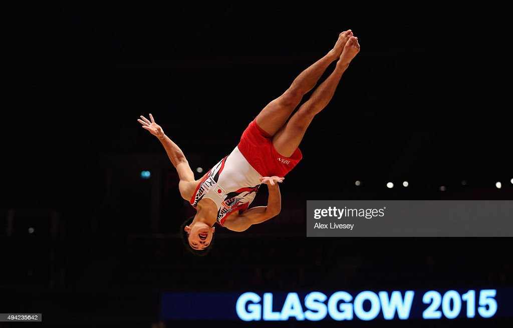 Kenzo Shirai of Japan competes in the Floor during Day Three of the 2015 World Artistic Gymnastics Championships at The SSE Hydro on October 25 2015...
