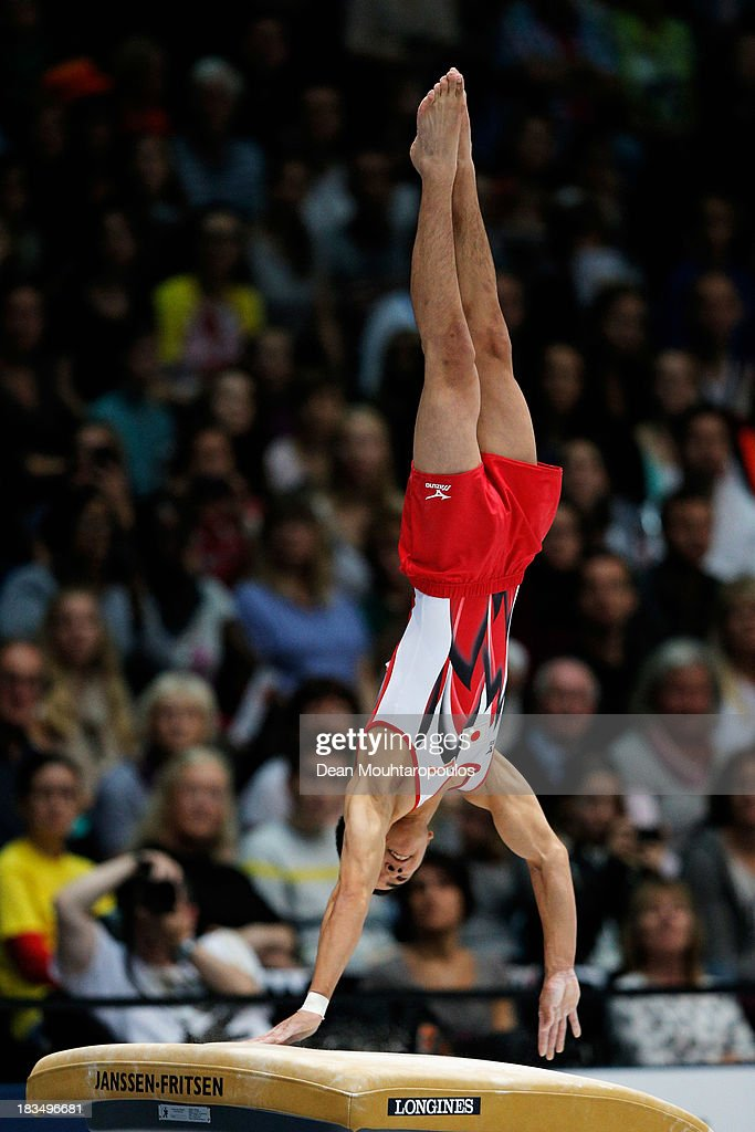 Kenzo Shirai of Japan competes in the Vault final on Day Seven of the Artistic Gymnastics World Championships Belgium 2013 held at the Antwerp Sports...